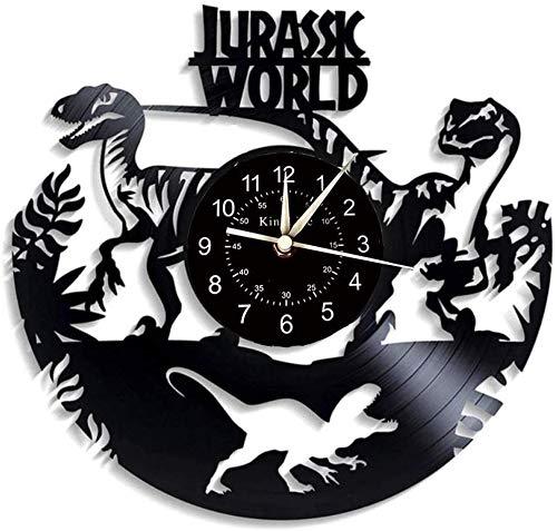 Leileixiao Vinyl-LP Wanduhr, Dinosaurier Thema Wanduhr, Hauptdekoration Mute CD Geschenk Wanduhr