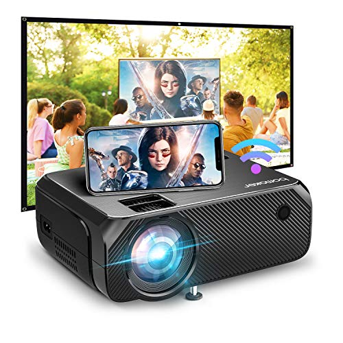 Bomaker 2021 Upgraded Native HD WiFi Mini Projector, 200 ANSI Lumen, Native 1280x720P, Portable Wireless Outdoor Movie & Gaming WiFi Projector, for iPhone, Android, Laptop, PS4, DVD Player, TV Stick