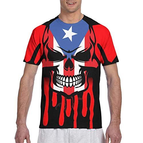 Zhgrong Men tee Shirts Dripping Skull Puerto Rico Flag Short Sleeve T-Shirts Crew Neck T Shirt