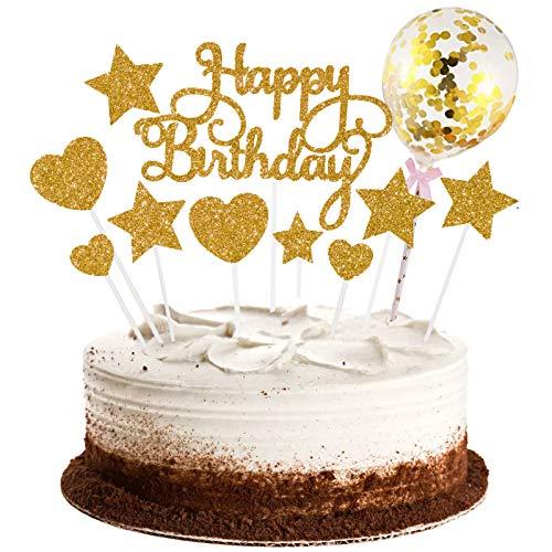 Cake Toppers, 15PCS Happy Birthday Cake Decoration Stelle Cuore Cupcake Topper con palloncino glitterato Compleanno Cupcake Toppers Decorazioni per torte Tema Decorazioni per feste di compleanno (Oro)