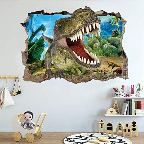 Pegatinas de Pared Dinosaurio, Vinilos Dinosaurios Agrietada Calcomanías de Pared Adhesivos de Pared de Dinosaurio 3D Muros Rotos, para Infantiles Habitación Salón Dormitorio (C)