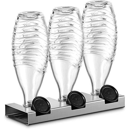 ecooe Abtropfhalter aus Edelstahl mit Abtropfwanne NUR für SodaStream Glaskaraffe Spülmaschinenfest Abtropfständer Für 3 Flaschen und 3 Deckel