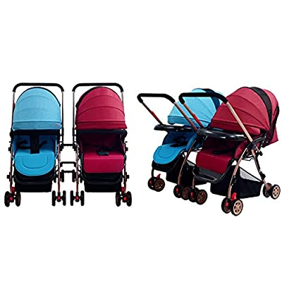 Whchiy - Cochecito doble desmontable para bebés de 0 a 36 meses