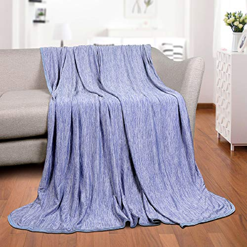 Cooling BlanketJapanese Q-Max 0.4 Technology Keep Cool in hot Summer, 51 X 67in Twin or Baby Sized Blanket for Adults, Children, Babies. Mica Nylon and PE Cool Fabric Breathable Comfortable.(Blue)