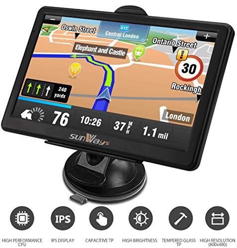 Navi 7 Zoll Navigation für Auto Touchscreen LKW Navigationsgerät mit Blitzerwarnung Sprachführung Fahrspurassistent mit EU UK 52 Karten Lebenslang EU-Karten
