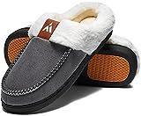 Mishansha Zapatillas Hombre Casa Pantuflas Mujer Invierno Zapatillas de Estar Cálido Slipper Forro Interior Zapatos de Invierno Estilo:3 Gris Gr.43