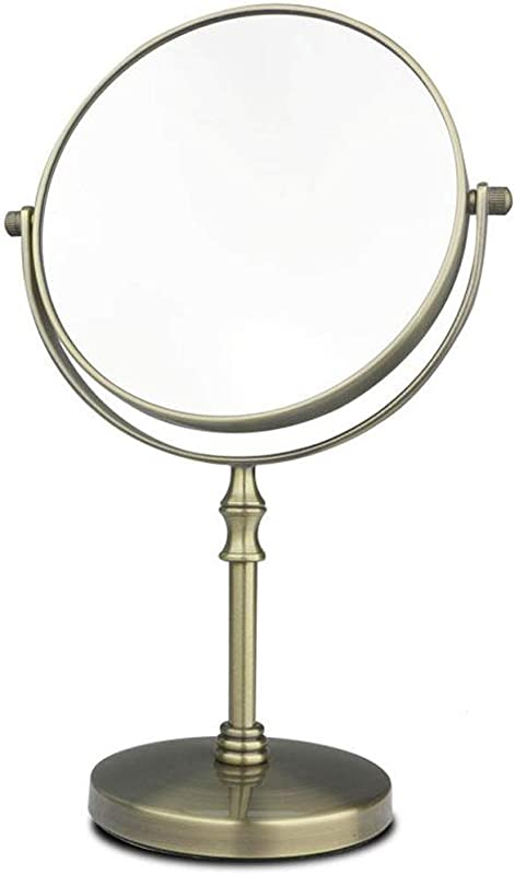C Q CQ Makeup Mirror Desktop Double Sided Dressing Mirror Retro European Beauty Mirror Metal Bronze Color Mirror Size L