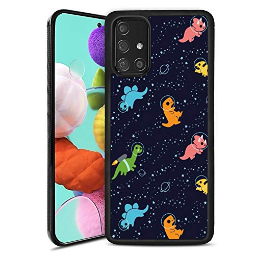 Compatible with Samsung Galaxy A51 Case,Dinosaurs in Space Pattern Design Slim Black Soft TPU Anti-Slip Shockproof Full-Body Protective Cover for Samsung Galaxy A51