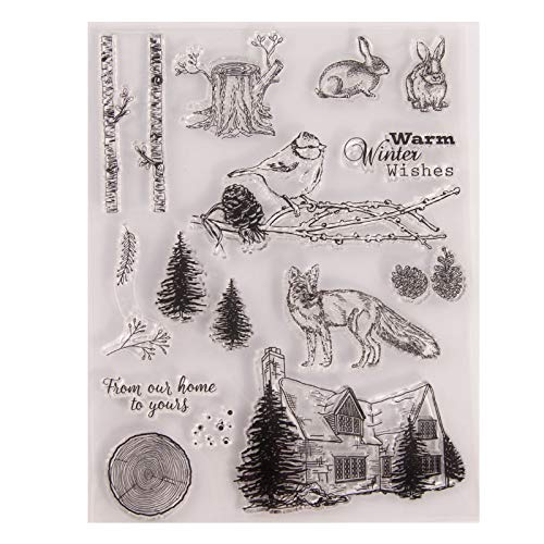 MaGuo Warm Winter Wishes Clear Stamps Winter Animal Rabbit Wolf for Card Making Decoration and DIY Scrapbooking