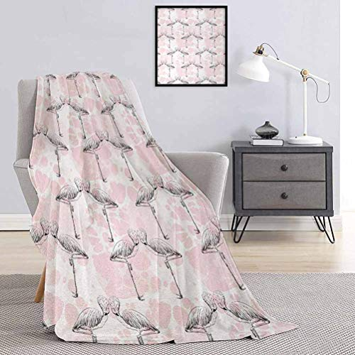 Toopeek Romantic Rugged or Durable Camping Blanket Flamingos Shaping Hearts with Heads Love Animal Valentines Artsy Illustration Warm and Washable W80 x L60 Inch Light Pink Grey.jpg