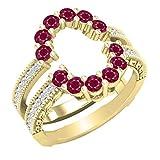 Dazzlingrock Collection Round Ruby & White Diamond Ladies Enhancer Guard Double Wedding Ring, 18K Yellow Gold, Size 8