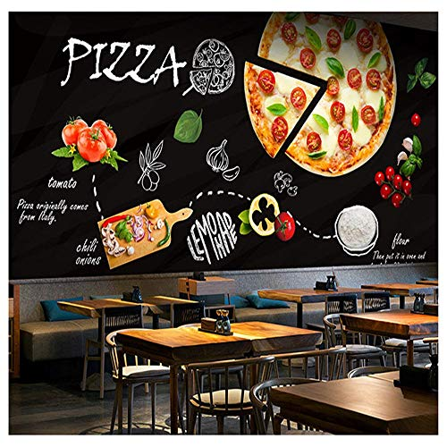 Tapeten Wandbild Wandaufkleberbenutzerdefinierte 3D Wandbild Tafel Graffiti Lebensmittel Pizza Thema Tapete Westlichen Restaurant Café Kaffee Snack Cafe Tapete Wandbild, 400 * 280 Cm