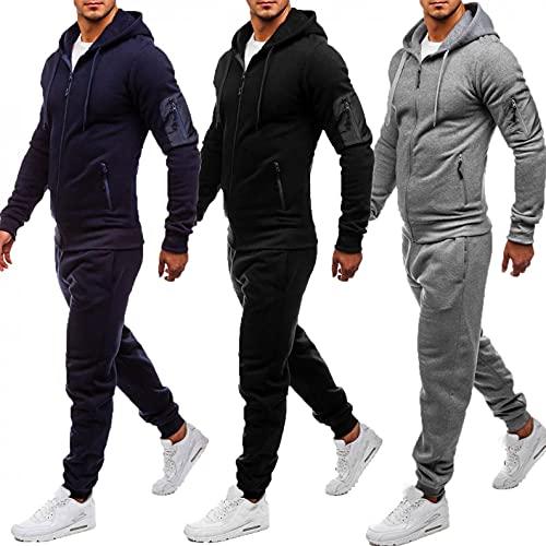 Mens Tracksuit, Men's Activewear Full Zip Warm Tracksuit Sports Set Casual Sweat Suit