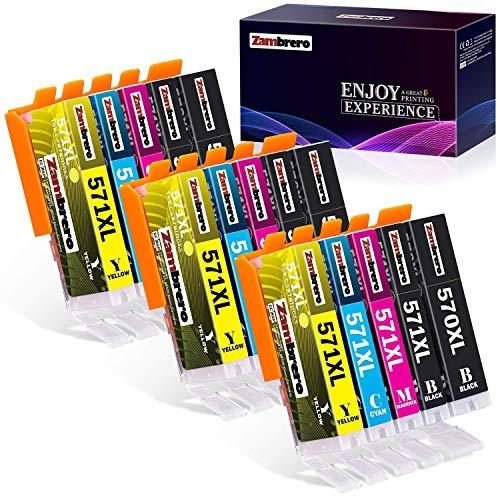 Z-Zambrero 570 571 Cartucce d'inchiostro Sostituzione per Canon PGI-570 CLI-571 Compatibile per Canon Pixma MG5750 TS5050 TS5051 MG5751 MG6850 MG6851 MG7750 TS6050 TS6052 TS8050 (5 Colori, 15 Pezzi)