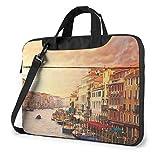 Hermosa Vista del Canal de Venecia, Bolso de Hombro portátil para computadora portátil Impresa, maletín de Negocios con Funda para computadora portátil