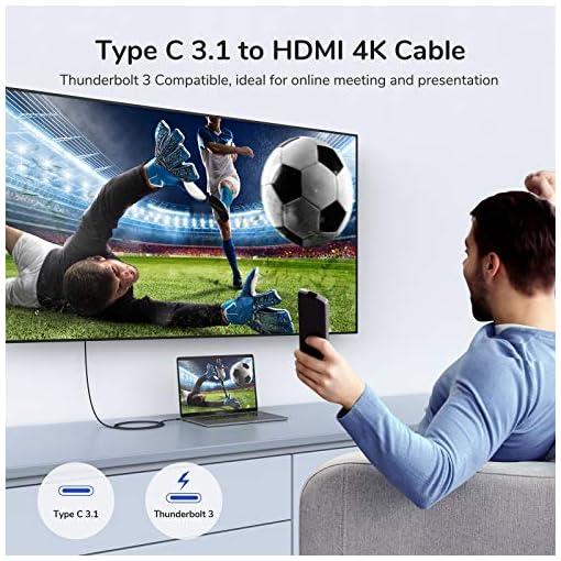 Syncwire Cable USB C a HDMI 4K@60Hz - [Chapado en Oro 24K] Cable Tipo C 3.1 a HDMI 1.8M Nylon Trenzado [Thunderbolt 3… 4