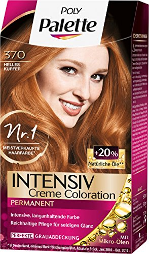Poly Palette Intensiv Creme Coloration, 370 Helles Kupfer Stufe 3, 3er Pack (3 x 115 ml)