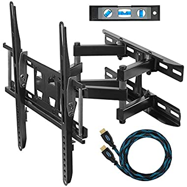 "Cheetah APDAM3B Dual Articulating Arm TV Wall Mount Bracket for 20-65"" TVs up to VESA 400 and 115lbs, Fits Studs up to 16"", includes a Twisted Veins 10' HDMI Cable and 6"" 3-Axis Magnetic Bubble Level"