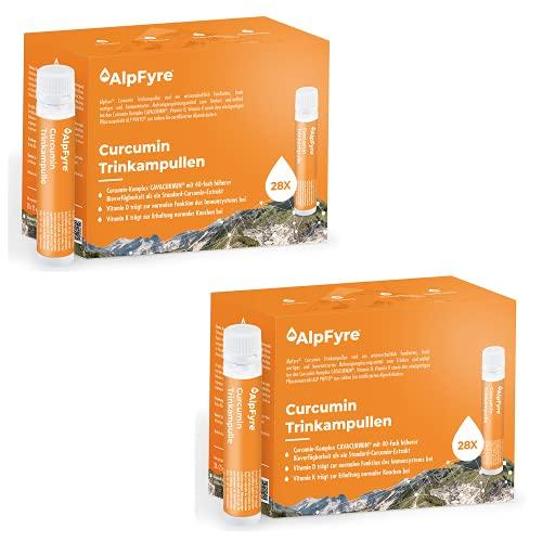 AlpFyre Turmeric Curcumina liquida Vitamina D3 y K2 2x(28x25 ml) Extracto de Cúrcuma para mejorar el Sistema Inmunitaio y Huesos y Articulaciones Suplementos 2x (28x25ml)