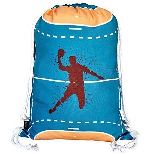 HECKBO® Jungen Mädchen Kinder Handball Turnbeutel - waschmaschinenfest - 40x32cm – geeignet für Kindergarten, Schule, Krippe, Reise, Sport - Rucksack, Tasche, Spieltasche, Sportbeutel, Handballtasche