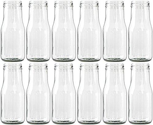 Unbekannt 12 x Glasfläschchen im Landhausstil Flasche Vase Tischvasen Glasflaschen Dekoflaschen Väschen Vasen Glasvasen