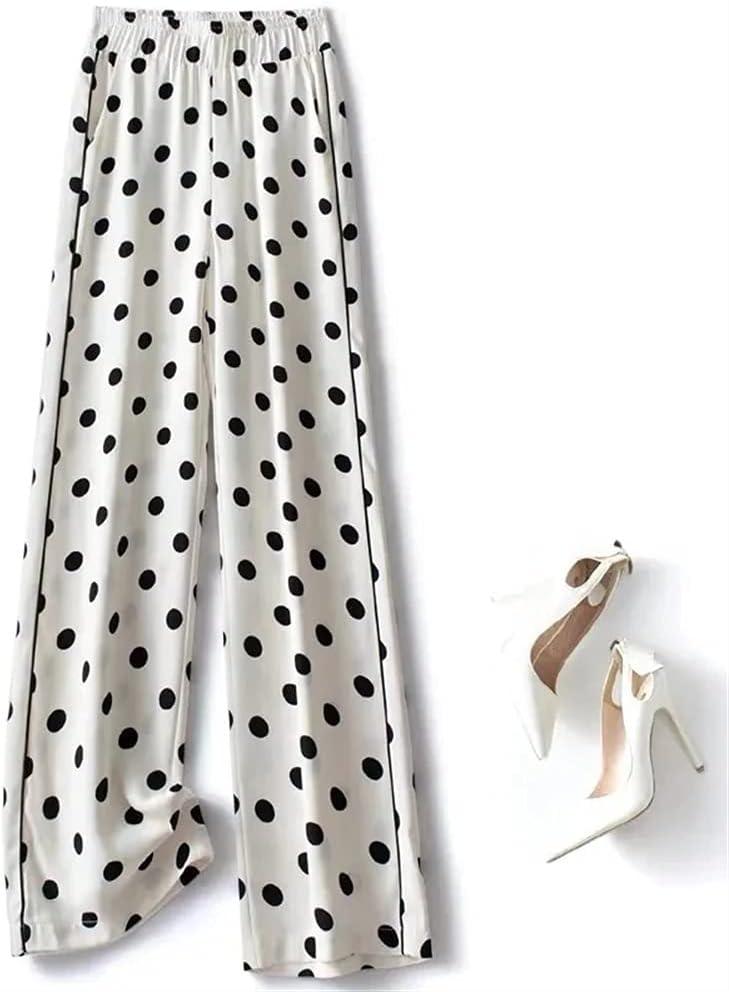 KSFBHC Wide-Leg Pants Women's Plus Siz Polka Dot Printing Casual Pants (Color : White, Size : Small)