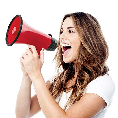 Wembley Handheld Megaphone, Bullhorn Loudspeaker with Built-in Bottle Opener, Battery-Powered Horn for Coaches and Fans, Best Speaker for Football and Soccer Games, Amplify Voice