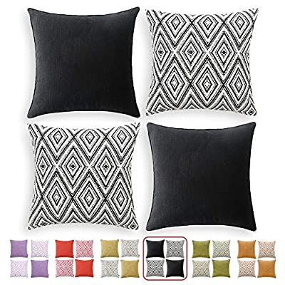 """HPUK Decorative Throw Pillow Covers Set of 4 Couch Pillows Linen Cushion Cover for Couch Sofa Living Room, 17""""x17"""" inches, Black"""