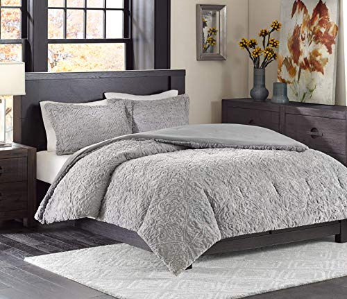 Madison Park Bismarck Full/Queen Size Bed Comforter Set - Grey, Embroidered Medallion – 3 Pieces Bedding Sets – Faux Fur Plush Bedroom Comforters