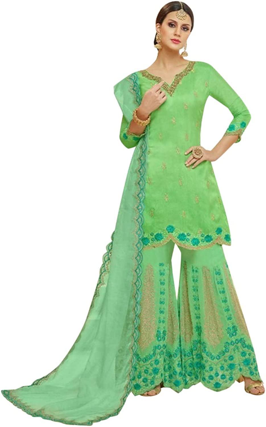 Sea Green Muslim Reception Ceremony Upada Silk Sharara suit for Women with Heavy Embroidery Indian dress 7608