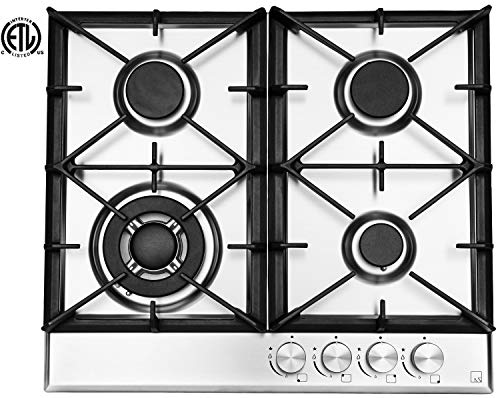 Ramblewood High Efficiency 4 Burner Natural Gas Cooktop, Sealed Burner GC4-50N, ETL Safety Certified.
