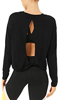 Bestisun Cute Backless Yoga Workout Shirts Long Sleeve Knotted Back Athletic Sport Top for Women