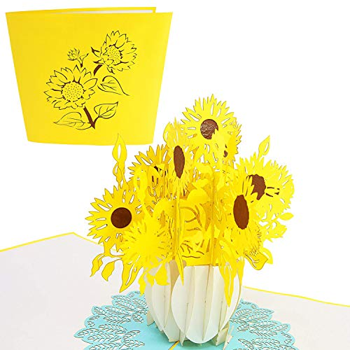 PopLife Sunflower Bouquet Pop Up Mother's Day Card - 3D Anniversary Pop Up, Happy Birthday, Thank You, Valentine's Day Gift - for Mom, for Daughter, for Wife, for Grandma, for Stepmom