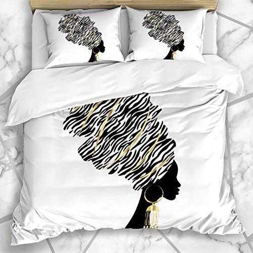 Juegos de fundas nórdicas Colores Cara África África Gráfico Negro Cabeza étnica Diseño para adultos Pendientes Ropa de cama de microfibra con 2 fundas de almohada Cuidado fácil Antialérgico Suave Sua