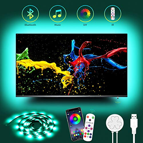TV LED Backlight with USB Adapter, Hiromeco 14.7FT TV Bias Lighting for 60 65 Inch TV, Sync with Music, IR Remote, 16 Million Changing Ambient Mood Lighting for Bedroom, Kitchen, TV
