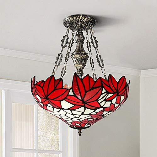 U/D Araña Techo LED Hoja de Arce Luz del Estilo de mediterránea Manchado lámpara de Cristal Retro luz Caliente de la Sala de Estar Dormitorio MJZHJD (Size : D40cm)