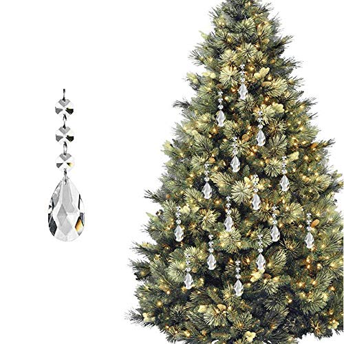 HOHIYA Christmas Tree Ornament Decorations Acrylic Crystal Xmas Ball Drop Droplet Prism Home Party Birthday Event Craft 11CM(Clear,pack of 30)