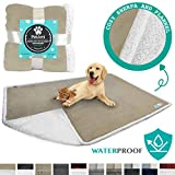 PetAmi Waterproof Dog Blanket for Bed, Couch, Sofa | Waterproof Dog Bed Cover for Large Dogs, Puppies | Sherpa Fleece Pet Blanket Furniture Protector | Reversible Microfiber | 80 x 55 (Taupe)
