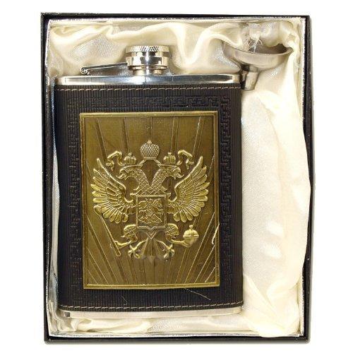 Flachmann Bronze Wappen Russland 230 ml Edelstahl / Russia Logo