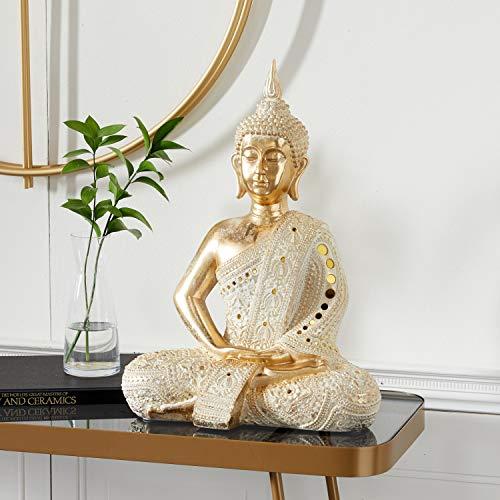 Deco 79 Gold Polystone Glam Sculpture, Buddha 20 x 14 x 9 Inches, Medium