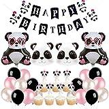 Suministros de Decoraciones de Fiesta de cumpleaños de Panda Rosa Suministros con Globo de Cabeza Cupcake Toppers Banner para 1er cumpleaños Baby Shower