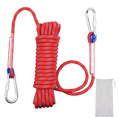 多用途ロープ 多機能ロープ 多目的ロープ 園芸ロープ 洗濯ロープ 10mm 耐荷重1200kg 10M/20M/30M/ CE認証 7色 収納袋セット 防水性 頑丈 アウトドア キャンプ 防災 強風対策 付け替え用 2個軽量アルミカラビナ付 (レッド10mm, 10M)