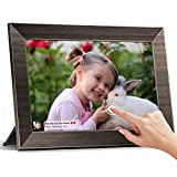 Digital Photo Frame, MARVUE 10.1 Inch Wifi Digital Picture Frame, IPS Touchscreen, 16GB Storage, Wall Mountable, Auto-Rotate, Share Photos & Videos via App Instantly, Wood-Like
