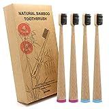 Cepillos de dientes de bambú natural cerdas suaves adulto y adolescentes, Juego de 4...