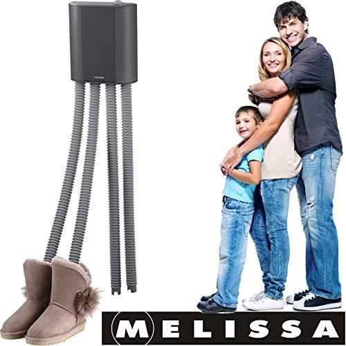 Melissa 16540011 Schuhtrockner elektrisch, Stiefelwärmer, Gummistiefel,Wanderschuhe,Skischuhe, Heizung mit Gebläse und Zeitschaltuhr für 2 Paar Schuhe/Handschuhe, schwarz