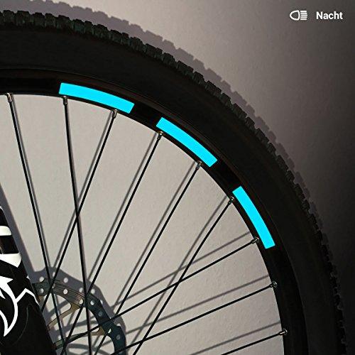 Motoking Fahrrad-Reflektorenaufkleber - Hellblau - 22 Aufkleber im Set - Breite: 10 mm - reflektierende Felgenaufkleber für Mountainbike-, Fahrradfelgen & mehr
