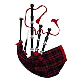 Great Scottish Highland Full Size Bagpipe Black Silver Finish with Tutor Book Various Tartans (MACDONALD TARTAN)