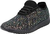 Cambridge Select Women's Closed Toe Glitter Encrusted Lace-Up Casual Sport Fashion Sneaker (6 B(M) US, Multi Black)