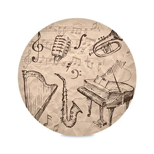 Ensemble de 4 tapis de table ronde avec note de musique dessinée à la main et tapis de table pour harpe saxophone et piano Ensemble de tapis de table pour fille 15,4 pouces faciles à nettoyer pour ta