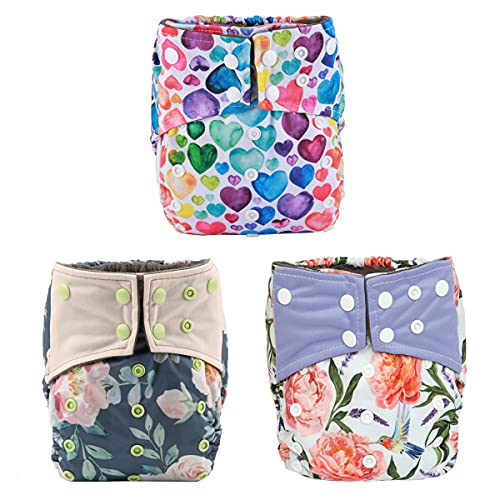 AIll in One Night AIO Cloth Diaper Nappy Sewn in Insert Reusable Washable Girls (Hummingbirds Foliage)